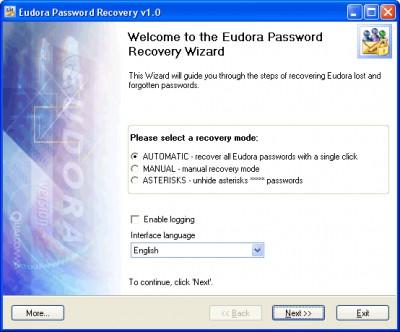 Eudora Password Recovery 1.6.4 screenshot