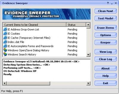 Evidence Sweeper 3.0.5 screenshot