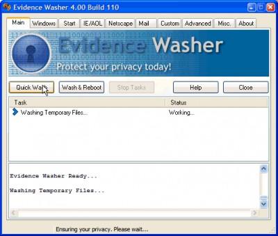 Evidence Washer 4.32 screenshot