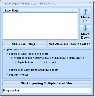 Excel Import Multiple Excel Files Software 7.0 screenshot
