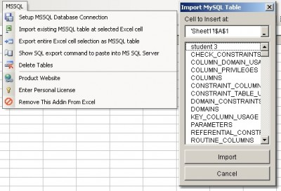 Excel MS SQL Server Import, Export & Convert Softw 1.1 screenshot