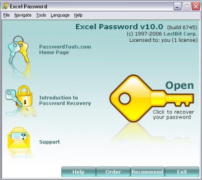 Excel Password 10.1.6805 screenshot