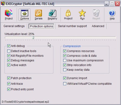 EXECryptor 2.3.7 screenshot