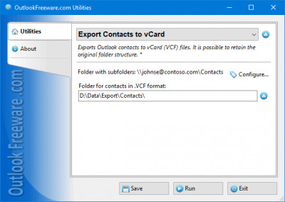 Export Contacts to vCard for Outlook 4.12 screenshot