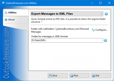 Export Messages to EML Files for Outlook 4.10 screenshot