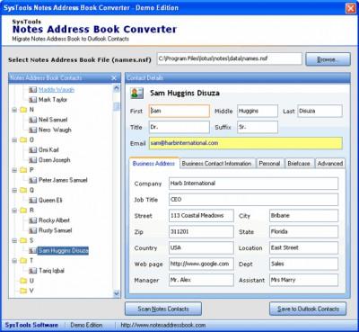 Export Notes Contacts 7.0 screenshot