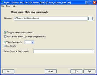 Export Table to Text for SQL Server 1.08.00 screenshot