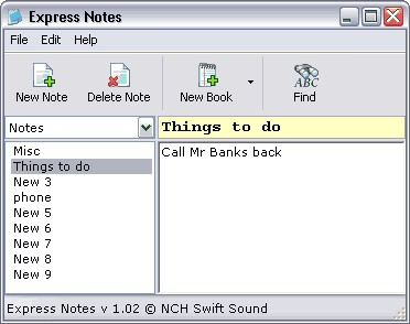 Express Notes Information Organiser 1.02 screenshot
