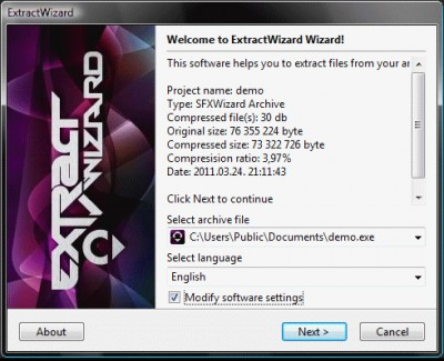 ExtractWizard 04/12/2012 screenshot