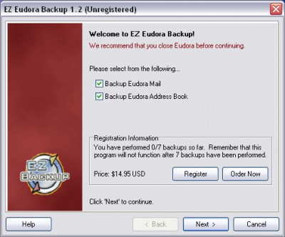 EZ Eudora Backup 1.21 screenshot