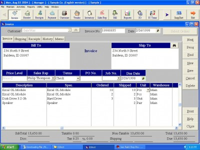 EZAcct accounting software 3.0 screenshot