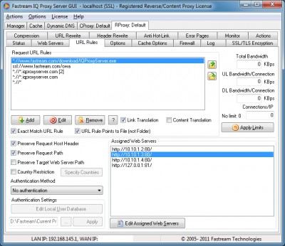 Fastream IQ Proxy Server 6.5.0R screenshot