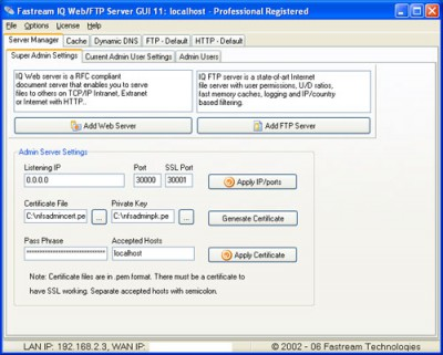 Fastream IQ Web/FTP Server 11.5.5R2 screenshot