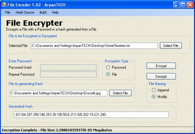File Encrypter 1.02.005 screenshot
