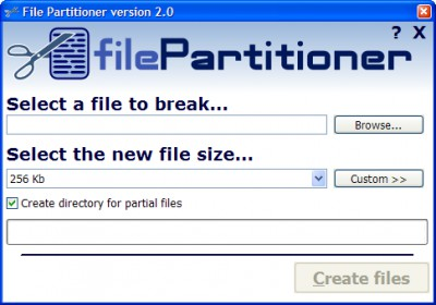 File Partitioner 2.0 screenshot