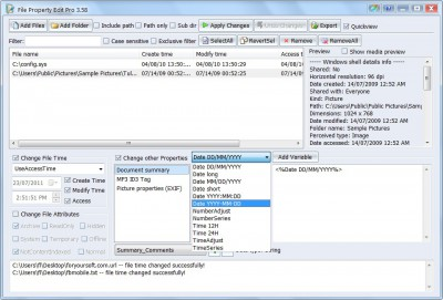 File Property Edit Pro 3.75 screenshot