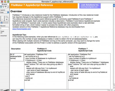 FileMaker 7 AppleScript Reference 2.0 screenshot