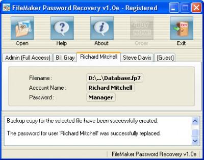 FileMaker Password Recovery 1.0P screenshot
