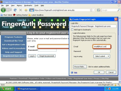 FingerAuth Password Manager 1.2.0.4 screenshot