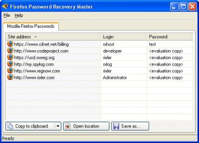 Firefox Password Recovery Master 1.1 screenshot