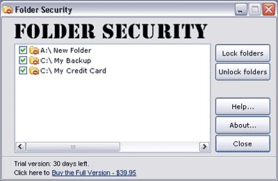 Folder Security 2.5 screenshot