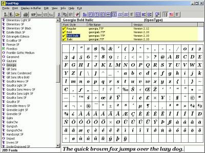 FontMap 2.41 screenshot