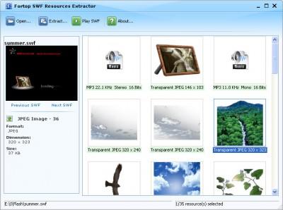 Fortop SWF Resources Extractor 2.5 screenshot