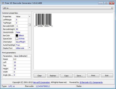 Free 1D Barcode Generator 12.0.0.223 screenshot