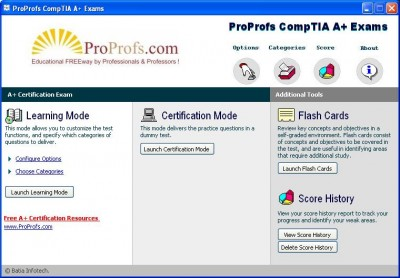 Free CompTIA A+ Practice Exams: ProProfs 2.2.1 screenshot