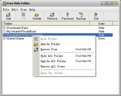 Free Hide Folder 3.5 screenshot