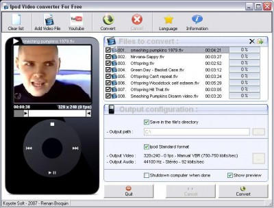 Free iPod Video Converter 3.0 screenshot