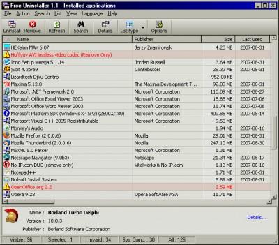 Free Uninstaller 1.1 screenshot
