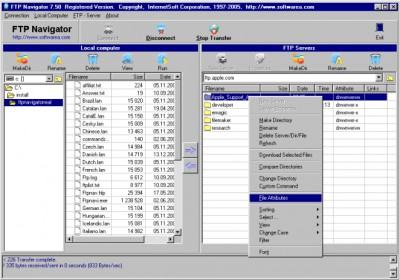 FTP Navigator 8.03 screenshot
