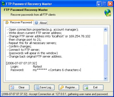 FTP Password Recovery Master 2.5 screenshot
