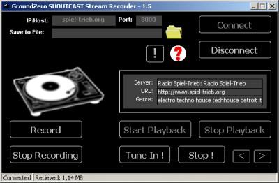 g0 Shoutcast recorder 1.0 screenshot