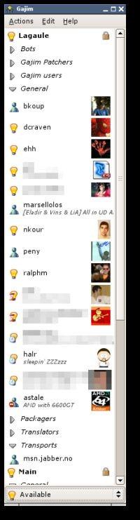 Gajim 0.10.1 screenshot