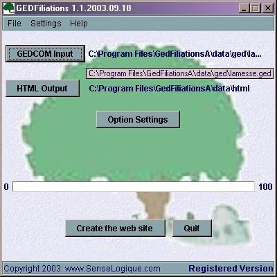 GedFiliations 1.1 screenshot