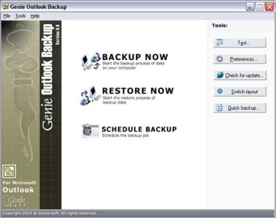 Genie Outlook Backup 6.0 screenshot