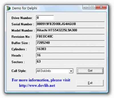 GetDiskSerial.DLL 4.0.0 screenshot