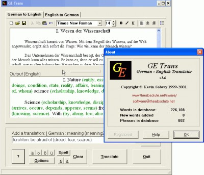GETrans - German to English Translator 1.6 screenshot