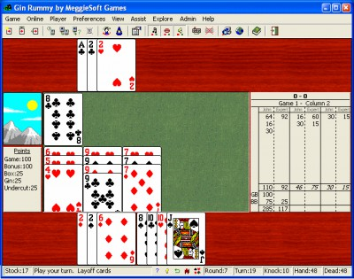 Gin Rummy by MeggieSoft Games 2008 screenshot