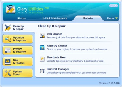 Glary Utilities PRO 2.56.0.832 screenshot