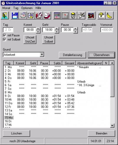 Gleitzeit 1.4.0 screenshot