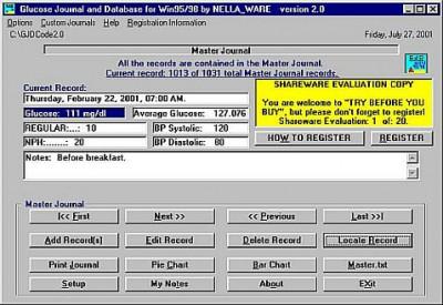Glucose Journal and Database 2.0 screenshot