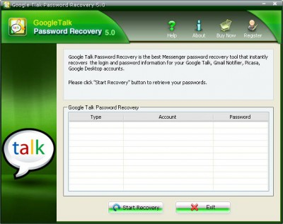 Google Talk Password Recovery 5.20 screenshot