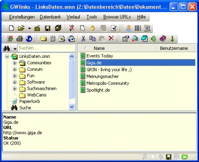 GWlinks 0.7.0 screenshot