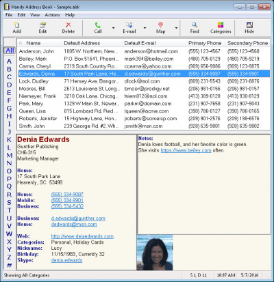 Handy Address Book 9.0 screenshot