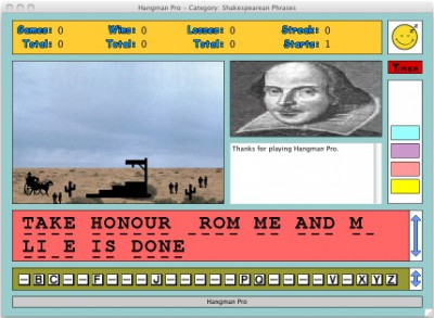 Hangman Pro for the Macintosh 4.0.1 screenshot