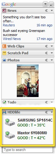 HDDlife plugin for Google Desktop 1.0 screenshot