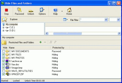 Hide Files & Folders 3.597 screenshot